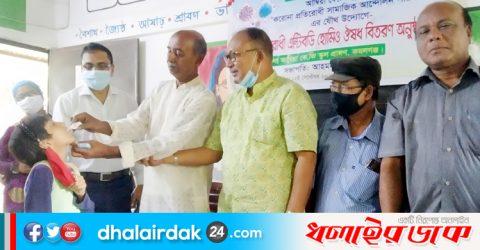 কমলগঞ্জে করোনা প্রতিরোধী এন্টিবডি হোমিও ঔষধ বিতরণ